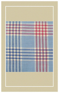 Vintage doll scaled red and blue plaid cotton