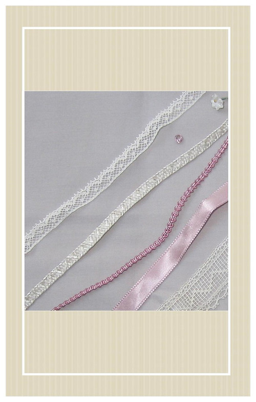 Dove gray silk with pink trimmings Mignonette sized sewing kit