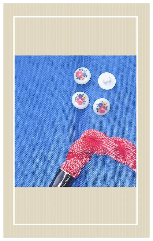 Blue vintage linen with poppy trimming doll sized sewing kit