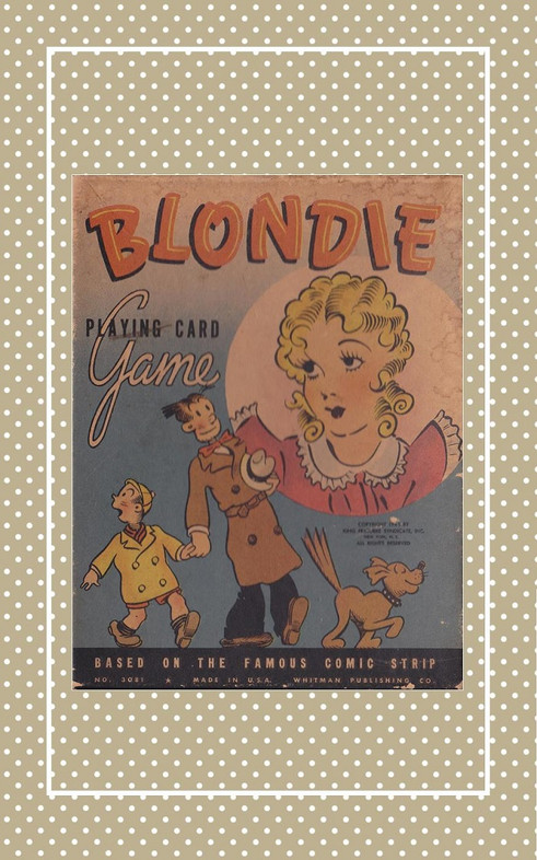 Vintage reproduction Blondie card game in three doll sizes.