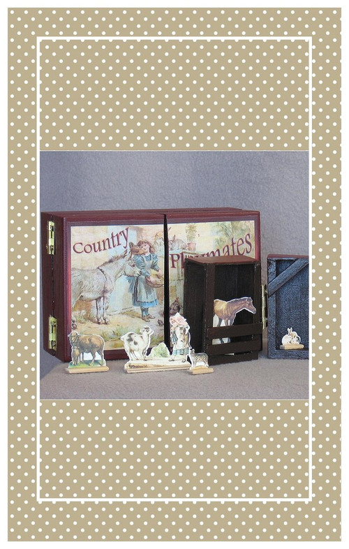 Antique reproduction folding farm set sized for small and medium dolls