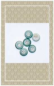 Tiny antique green rimmed glass buttons