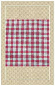 Red and white Edwardian doll scaled gingham
