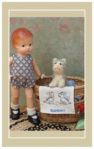 Patsyette just loves doing make-believe housework with her tiny kitten friend!
