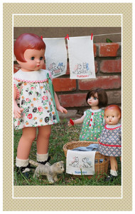 """Fabric as pictured in the Summer 2014 issue of Doll News.  The Patsy doll shown is 10"""" tall."""