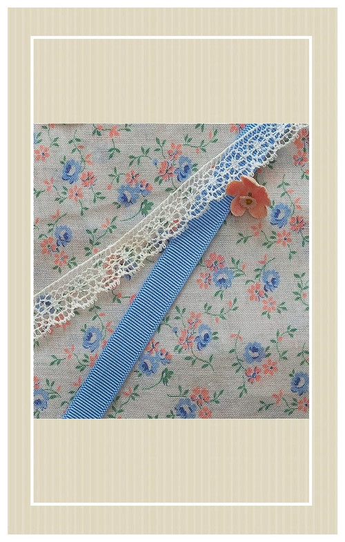 Wonderful shades of pale blue and peach vintage sheer cotton