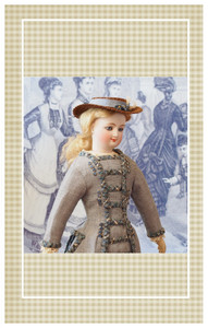 This smart walking suit pattern is designed to be appropriate for a doll representing a young lady of 13-14.