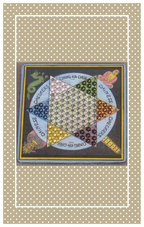 """Vintage reproduction Chinese Checkers set sized for 10 5/8"""" Bleuette."""
