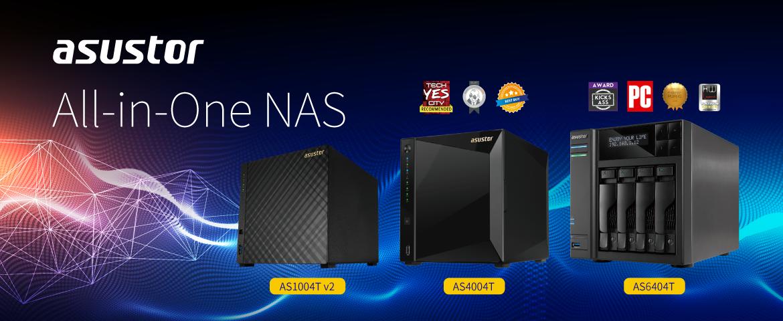 Asustor All-in-One NAS in AS1004T v2, AS4004T, AS6404T series