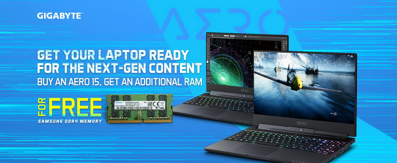 Gigabyte aero 15 laptop promotion with free samsung ddr4 memory