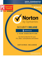 Norton 21363449 Security Deluxe 2016 5 Devices 1 Year Anti-virus