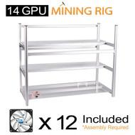 AAAwave Mining Case 14 GPU+FAN ARCTIC F12 TC Cooling AFACO-120T0-GBA01+ PCI RISER x 14