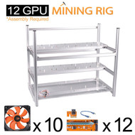 AAAwave 'THE DREDGE' 12 GPU Mining Case + 10x AAAwave 2100 rpm fan + 12 x PCI Riser