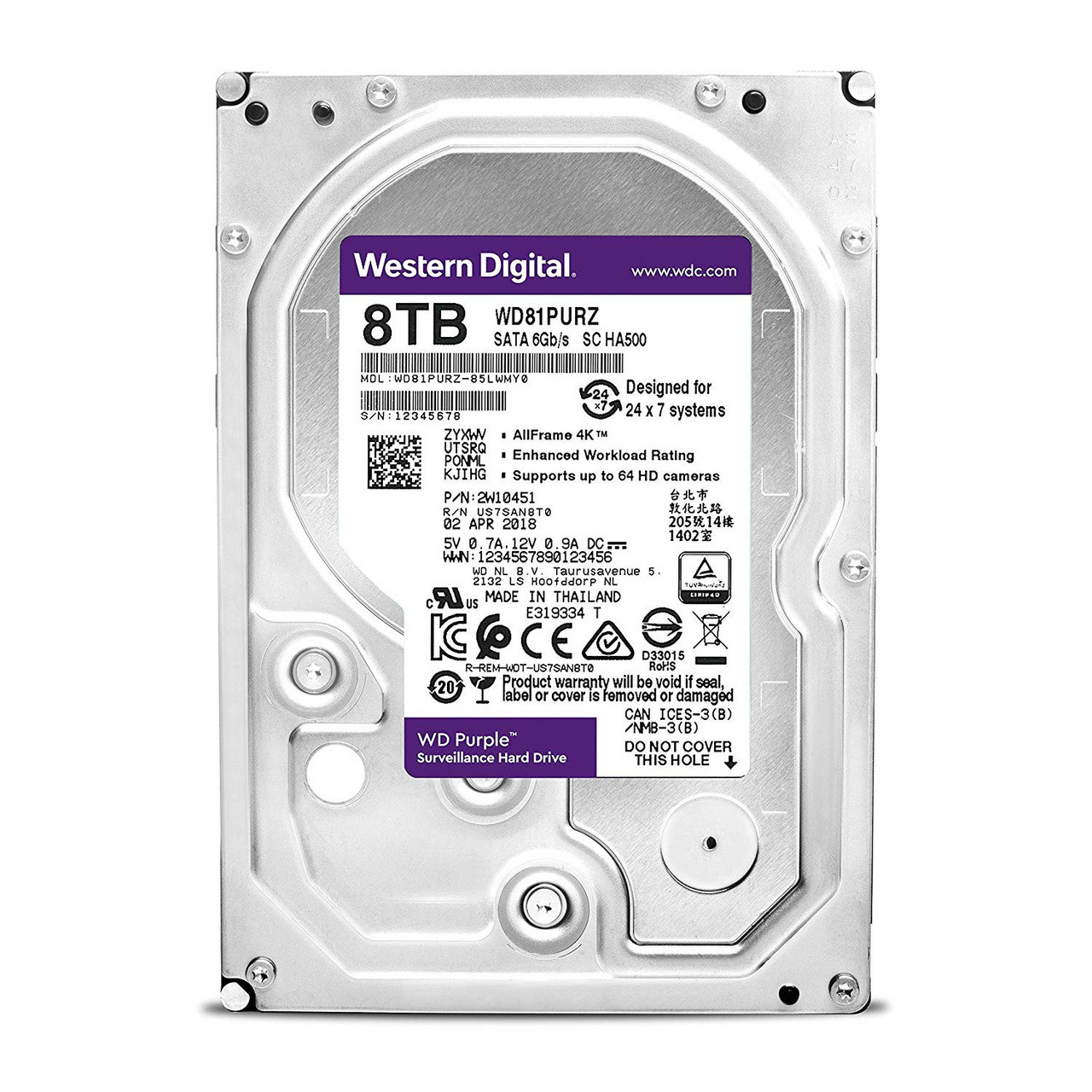 WD WD81PURZ Purple 8TB Surveillance 5400 RPM SATA 6 GB/S 256MB 3 5