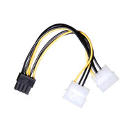 AAAwave Dual Female 4 Pin Molex to Single Male 8 Pin PCI-E Cable