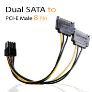 AAAwave Dual Male 15 Pin SATA to 8 Pin Male PCI-E Cable