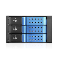 "iStarUSA BPN-DE230HD-BLUE 2x5.25"" to 3x3.5"" 12Gb/s Cage Blue"