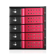 """iStarUSA BPN-DE350HD-RED 3x5.25"""" to 5x3.5"""" 12Gb/s Cage Red"""