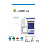 Microsoft 365 Family 1 Year Subscription For Up To 6 Users - For Windows, macOS, iOS, and Android devices - PC/Mac Keycard 6GQ-01193