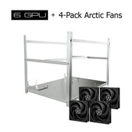 Set of AAAwave 6 GPU Stackable Aluminum Mining Frame Rig Case + 4 Packs of ACFAN00118A Arctic P12 fan 3PINs 1800RPM