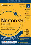 Norton 21389902 360 Deluxe 5 Devices Antivirus software with Auto Renewal - Includes VPN, PC Cloud Backup & Dark Web Monitoring powered by LifeLock [Key Card]