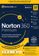 Norton 21389946 360 Premium 10 Devices Antivirus software with Auto Renewal - Includes VPN, PC Cloud Backup & Dark Web Monitoring powered by LifeLock [Key card]