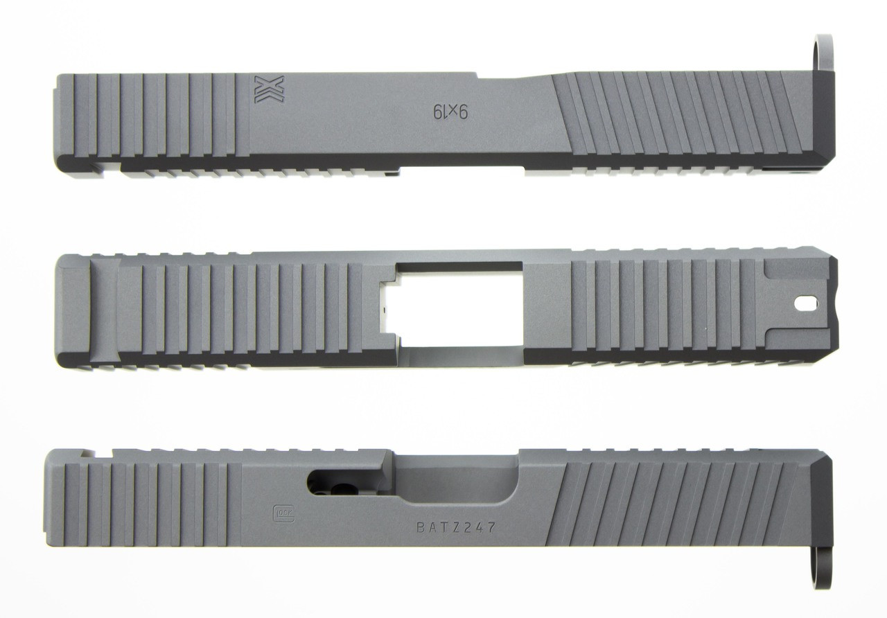 Enhanced Gripper Slide Cut Machining for Glock Slide by Battle Werx, Glock Front Slide Serrations, Enhanced Glock Rear Slide Serrations, 45 degree corner chamfers. Top Glock slide serrations.