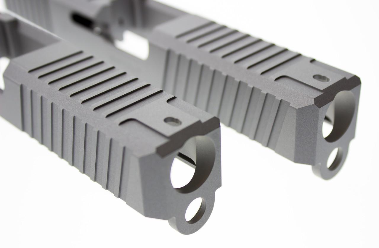 Enhanced Gripper Slide Cut Machining for Glock Slide by Battle Werx, Glock Front Slide Serrations, Enhanced Glock Rear Slide Serrations, 45 degree corner chamfers. Top Glock slide serrations.