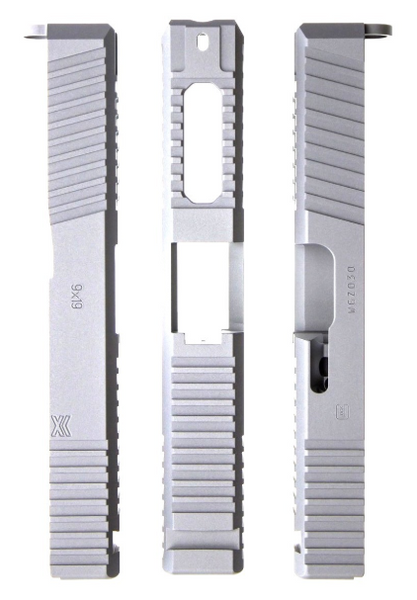 Ported Gripper Slide Cut Machining for Glock Slide by Battle Werx, Glock Front Slide Serrations, Enhanced Glock Rear Slide Serrations, 45 degree corner chamfers. Top Glock slide serrations, Top slide port.