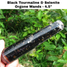 Black Tourmaline and Selenite Orgonite Wands, 4.5 inches in length