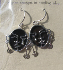 "Sterling Silver ""Crying"" Earrings Dark Shell Background, Fair Trade"