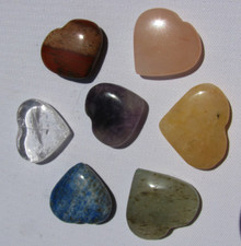 7 Piece Heart Shaped Mixed Gem Stone Chakra Set with Bag