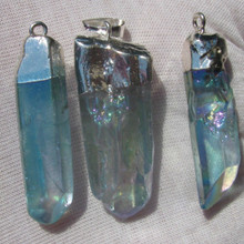 Aqua Aura Quartz Pendants