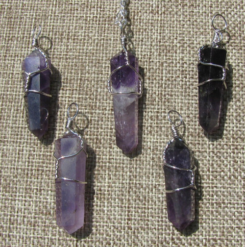 Amethyst Wire Wrapped Pendants