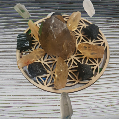 Abundance Grid with Congo Citrine and Black Tourmaline
