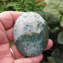 Moss Agate Soap Stone, Palm Stone 8493