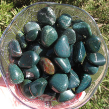 Bloodstone Tumbled Stones, Dark Green, Red Spots