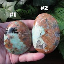 Chrysoprase Large Pebble stones #1 is  5.1 ounces #2 is 5.5 ounces