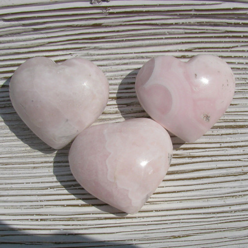 Pink Calcite, Mangano Calcite Hearts, Medium