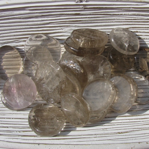 Smoky Quartz Coins, Smokey Quartz Coins, small