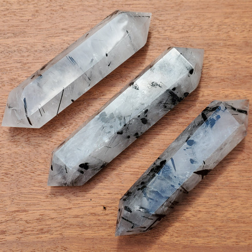 Tourmalinated Quartz Wands, Black Tourmaline in Quartz