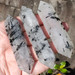 Black Tourmaline in Quartz Wands, Tourmalinated Quartz