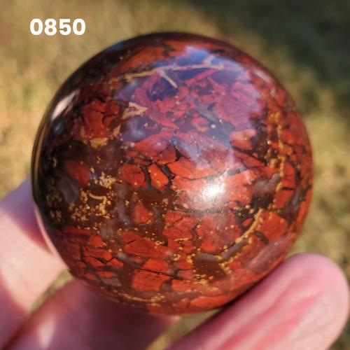 "Brecciated Jasper Sphere, 2"" 0850"