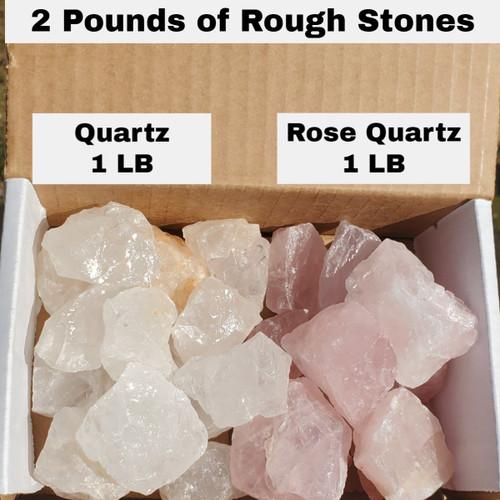 Mixed box of quartz and rose quartz rough chunks, 1 pound of each.