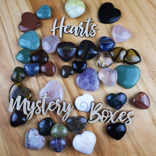 Mystery Box of Assorted Hearts, 30 mm to 45 mm.