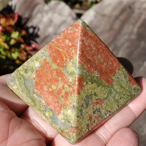 Unakite Pyramid Stones, medium