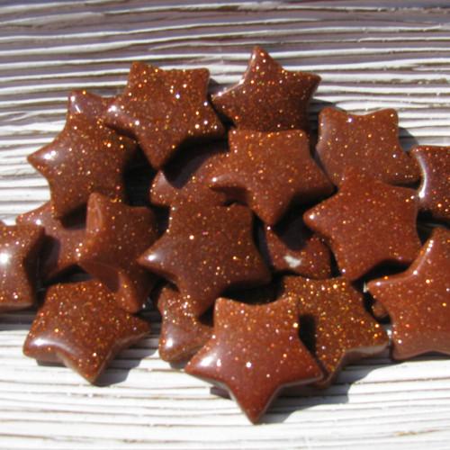 Goldstone small star shaped stones
