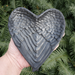 Shungite Angel Wing Heart Shaped Dish, Front on View