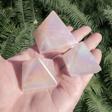 Rose Quartz Angel Aura Pyramids, small and med sized