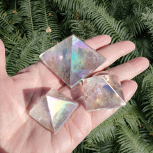 Angel Aura Quartz Pyramids, small and medium sized